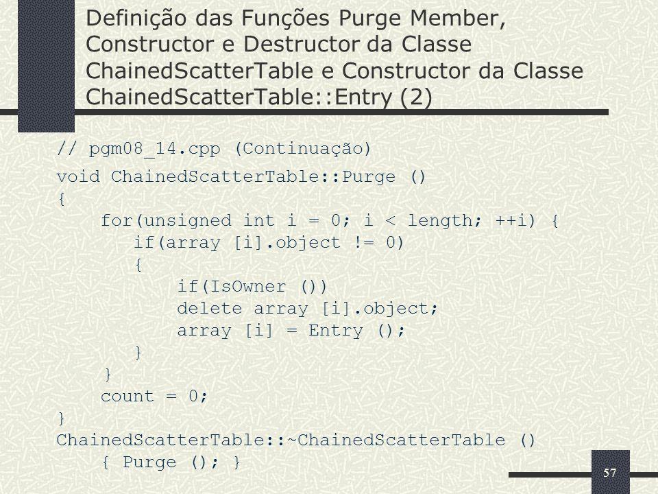 57 Definição das Funções Purge Member, Constructor e Destructor da Classe ChainedScatterTable e Constructor da Classe ChainedScatterTable::Entry (2) /