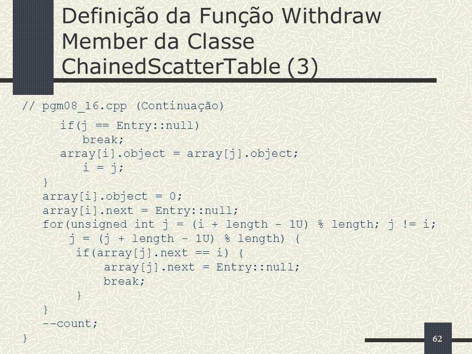 62 Definição da Função Withdraw Member da Classe ChainedScatterTable (3) // pgm08_16.cpp (Continuação) if(j == Entry::null) break; array[i].object = a