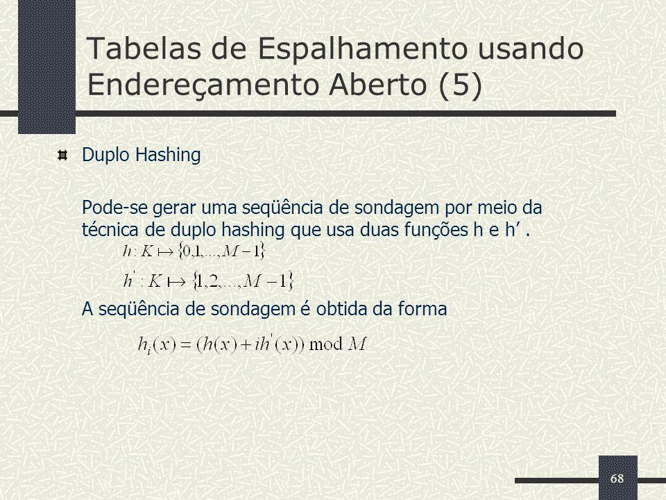 68 Tabelas de Espalhamento usando Endereçamento Aberto (5) Duplo Hashing Pode-se gerar uma seqüência de sondagem por meio da técnica de duplo hashing