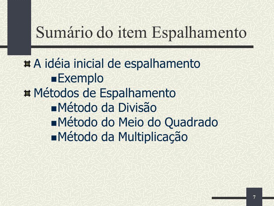 7 Sumário do item Espalhamento A idéia inicial de espalhamento Exemplo Métodos de Espalhamento Método da Divisão Método do Meio do Quadrado Método da