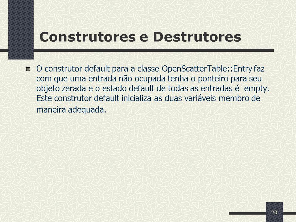 70 Construtores e Destrutores O construtor default para a classe OpenScatterTable::Entry faz com que uma entrada não ocupada tenha o ponteiro para seu