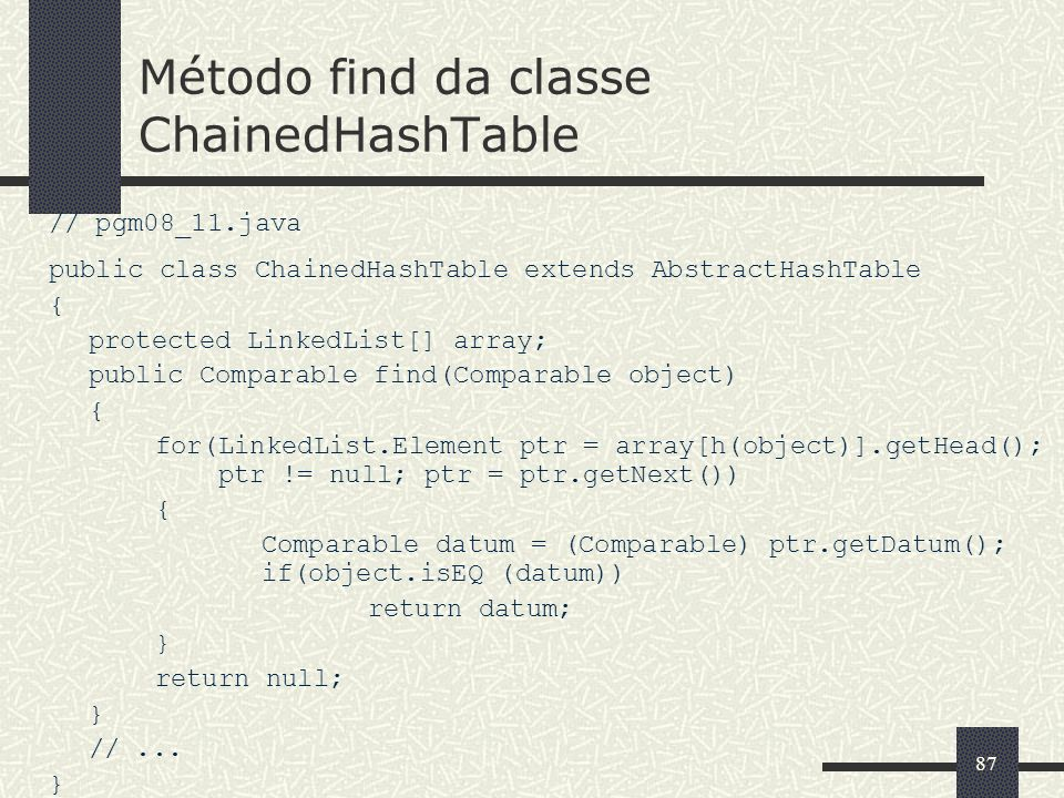 87 Método find da classe ChainedHashTable // pgm08_11.java public class ChainedHashTable extends AbstractHashTable { protected LinkedList[] array; pub