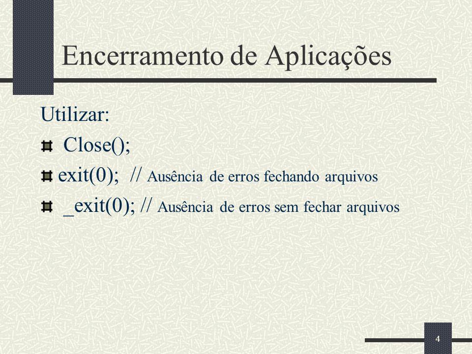 4 Encerramento de Aplicações Utilizar: Close(); exit(0); // Ausência de erros fechando arquivos _exit(0); // Ausência de erros sem fechar arquivos