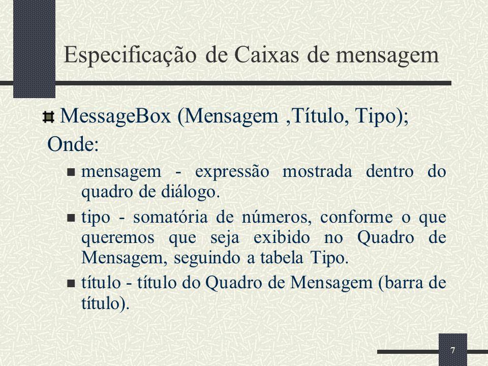 7 Especificação de Caixas de mensagem MessageBox (Mensagem,Título, Tipo); Onde: mensagem - expressão mostrada dentro do quadro de diálogo.