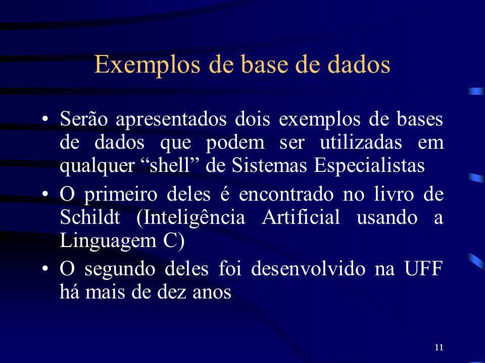 11 Exemplos de base de dados Serão apresentados dois exemplos de bases de dados que podem ser utilizadas em qualquer shell de Sistemas Especialistas O