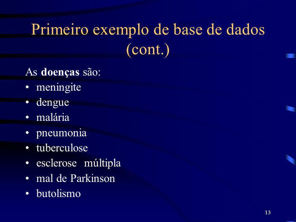 13 Primeiro exemplo de base de dados (cont.) As doenças são: meningite dengue malária pneumonia tuberculose esclerose múltipla mal de Parkinson butoli