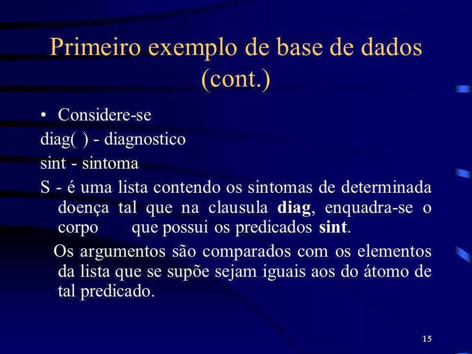 15 Primeiro exemplo de base de dados (cont.) Considere-se diag( ) - diagnostico sint - sintoma S - é uma lista contendo os sintomas de determinada doe