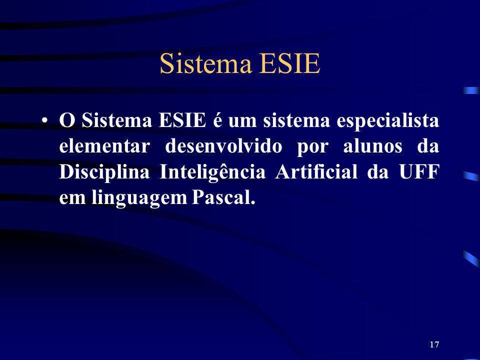 17 Sistema ESIE O Sistema ESIE é um sistema especialista elementar desenvolvido por alunos da Disciplina Inteligência Artificial da UFF em linguagem P