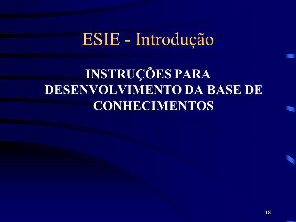 18 ESIE - Introdução INSTRUÇÕES PARA DESENVOLVIMENTO DA BASE DE CONHECIMENTOS