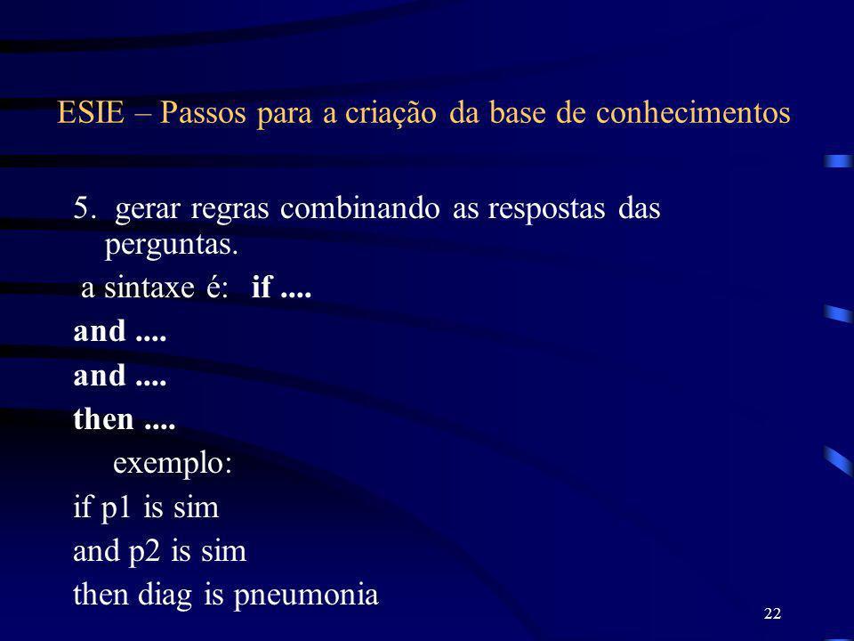 22 ESIE – Passos para a criação da base de conhecimentos 5. gerar regras combinando as respostas das perguntas. a sintaxe é: if.... and.... then.... e
