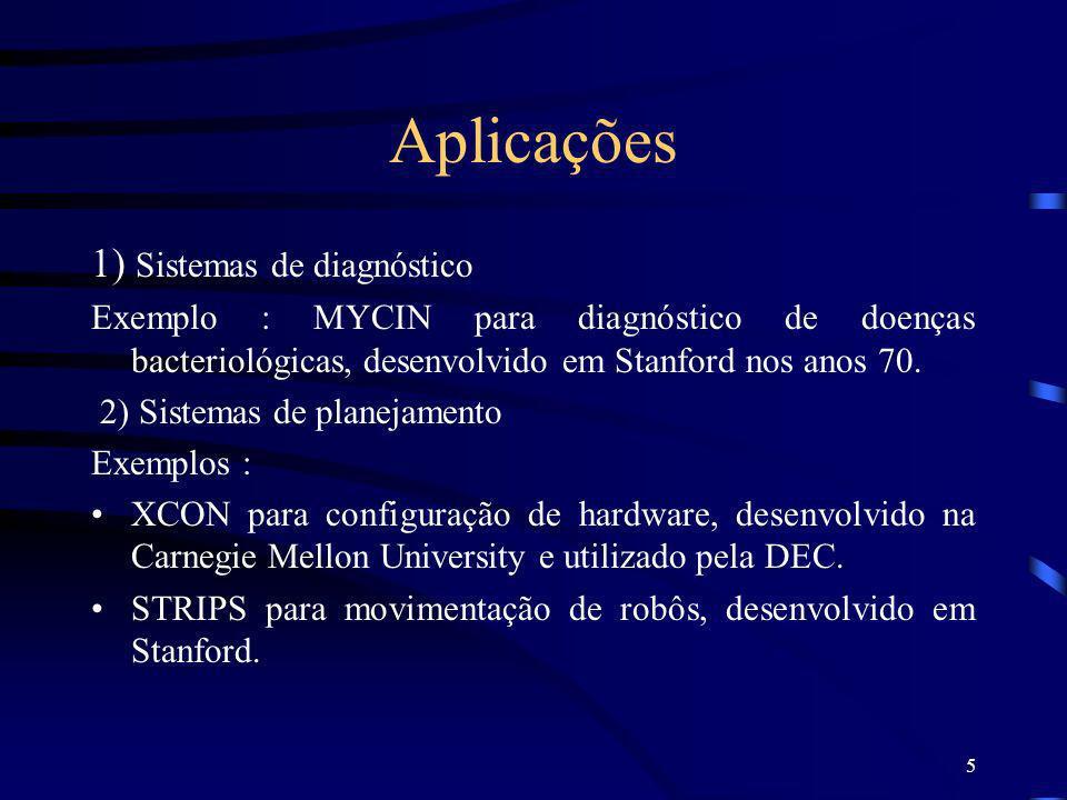 5 Aplicações 1) Sistemas de diagnóstico Exemplo : MYCIN para diagnóstico de doenças bacteriológicas, desenvolvido em Stanford nos anos 70. 2) Sistemas