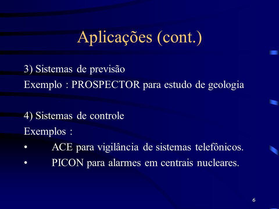 6 Aplicações (cont.) 3) Sistemas de previsão Exemplo : PROSPECTOR para estudo de geologia 4) Sistemas de controle Exemplos : ACE para vigilância de si