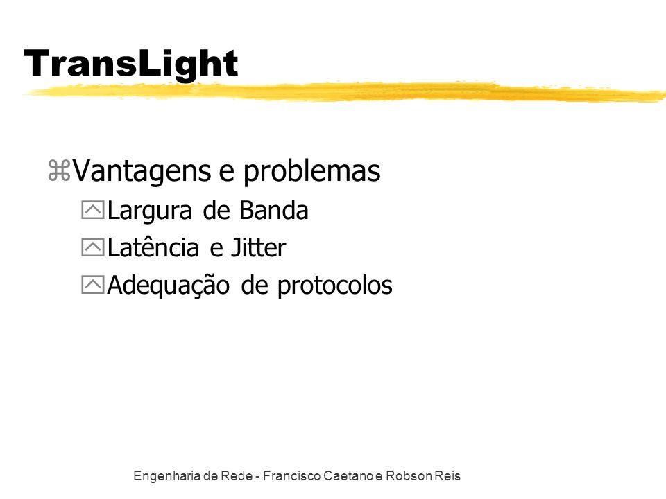Engenharia de Rede - Francisco Caetano e Robson Reis TransLight zVantagens e problemas yLargura de Banda yLatência e Jitter yAdequação de protocolos