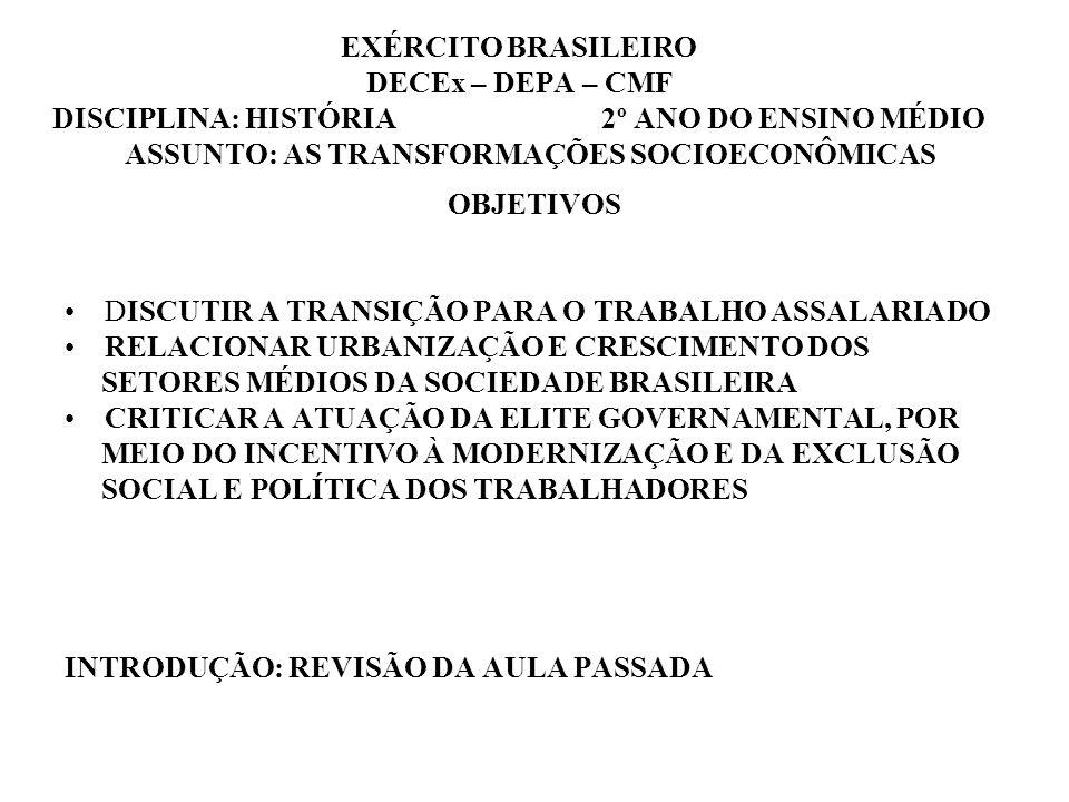 EXÉRCITO BRASILEIRO DECEx – DEPA – CMF DISCIPLINA: HISTÓRIA 2º ANO DO ENSINO MÉDIO ASSUNTO: AS TRANSFORMAÇÕES SOCIOECONÔMICAS OBJETIVOS DISCUTIR A TRANSIÇÃO PARA O TRABALHO ASSALARIADO RELACIONAR URBANIZAÇÃO E CRESCIMENTO DOS SETORES MÉDIOS DA SOCIEDADE BRASILEIRA CRITICAR A ATUAÇÃO DA ELITE GOVERNAMENTAL, POR MEIO DO INCENTIVO À MODERNIZAÇÃO E DA EXCLUSÃO SOCIAL E POLÍTICA DOS TRABALHADORES INTRODUÇÃO: REVISÃO DA AULA PASSADA