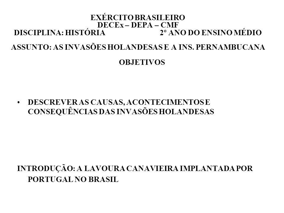 EXÉRCITO BRASILEIRO DECEx – DEPA – CMF DISCIPLINA: HISTÓRIA 2º ANO DO ENSINO MÉDIO ASSUNTO: AS INVASÕES HOLANDESAS E A INS. PERNAMBUCANA OBJETIVOS DES