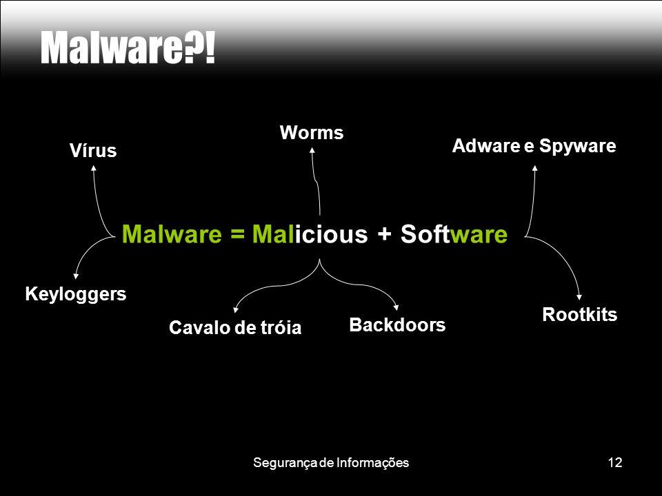 Segurança de Informações12 Malware?! Malware = Malicious + Software Vírus Cavalo de tróia Backdoors Adware e Spyware Keyloggers Rootkits Worms Malicio