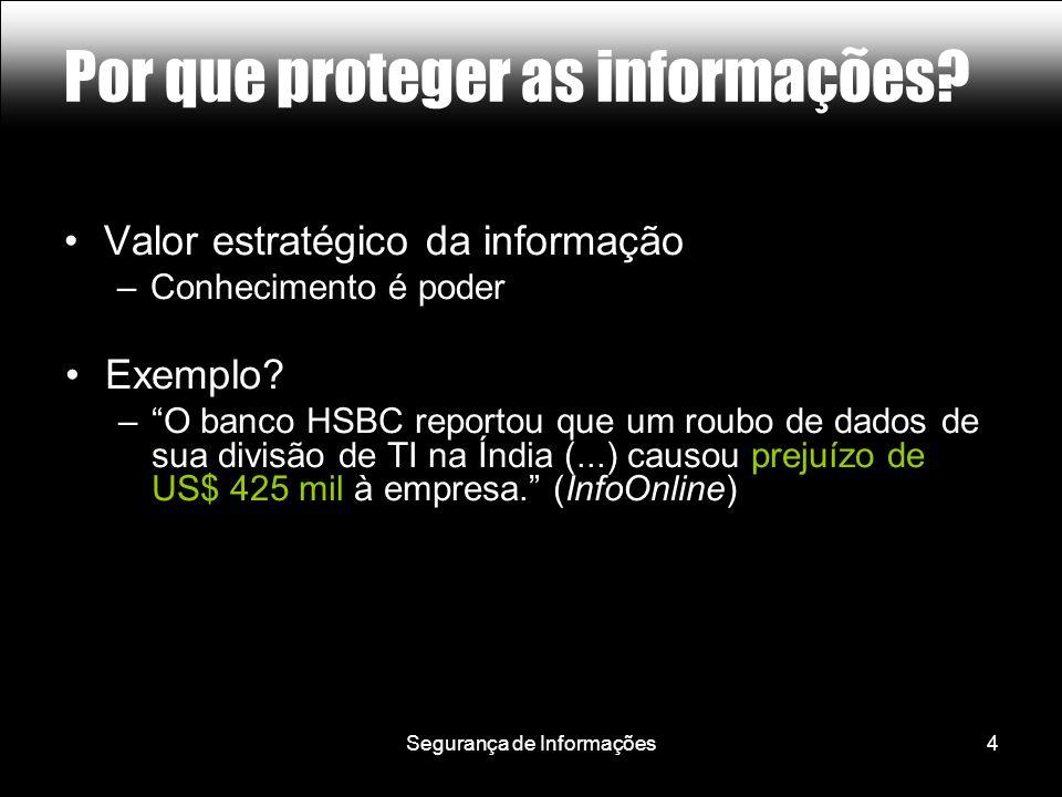 Segurança de Informações5 Por que proteger as informações? Lição #1: Informação = Dinheiro =
