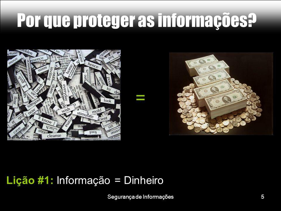 Segurança de Informações5 Por que proteger as informações Lição #1: Informação = Dinheiro =
