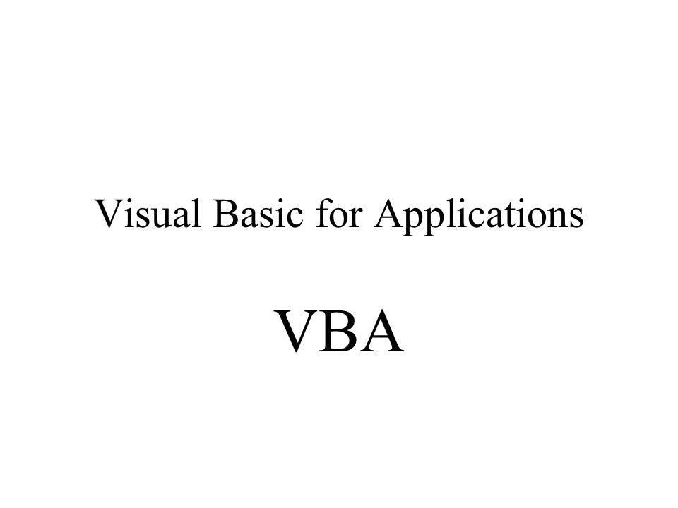 Visual Basic for Applications VBA
