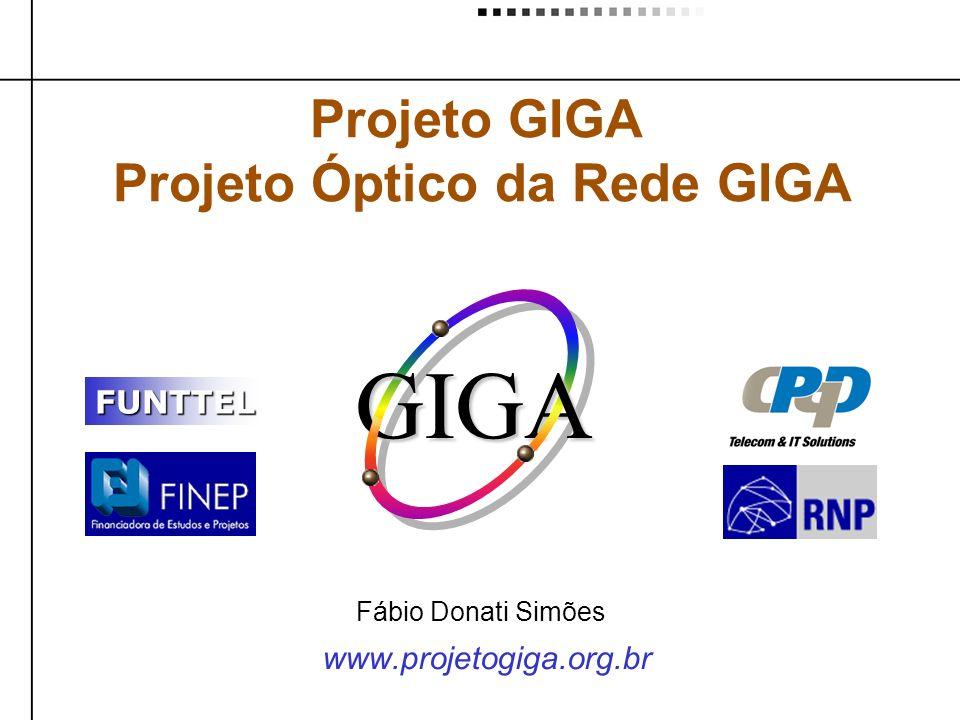 www.projetogiga.org.br Projeto GIGA Projeto Óptico da Rede GIGA FUNTTEL GIGA Fábio Donati Simões