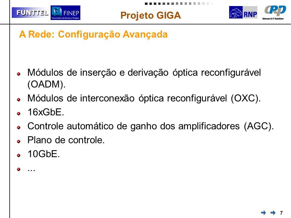 7 FUNTTEL Projeto GIGA Módulos de inserção e derivação óptica reconfigurável (OADM). Módulos de interconexão óptica reconfigurável (OXC). 16xGbE. Cont