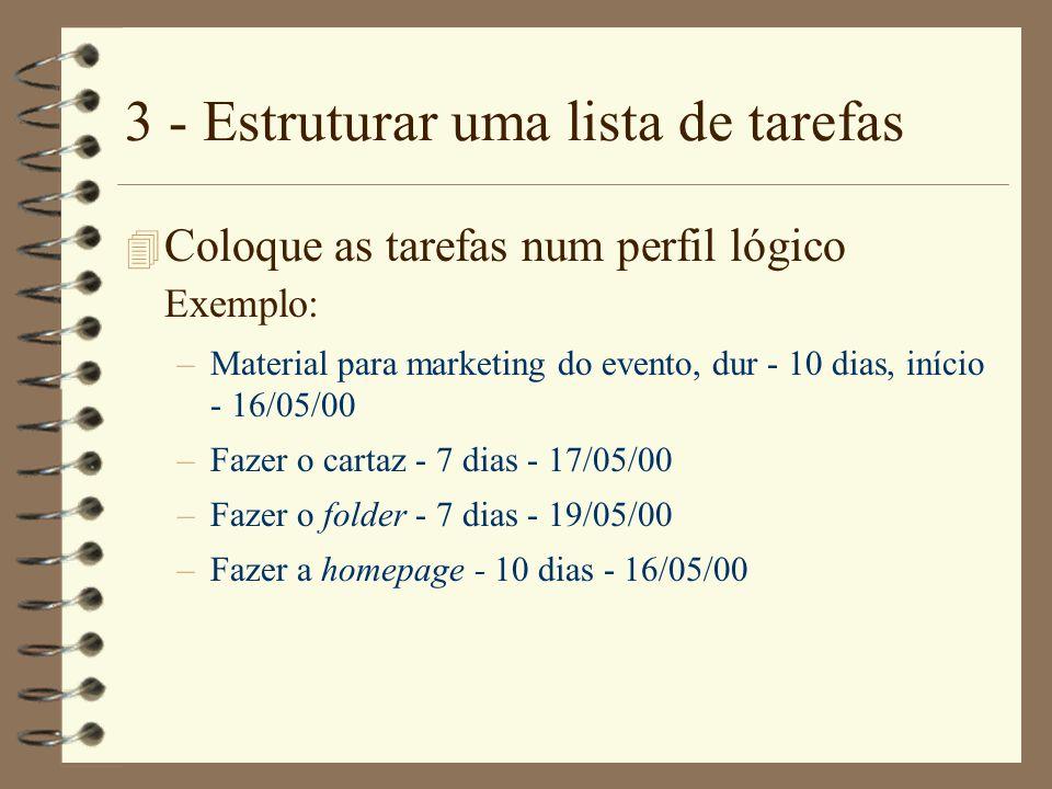 3 - Estruturar uma lista de tarefas 4 Coloque as tarefas num perfil lógico Exemplo: –Material para marketing do evento, dur - 10 dias, início - 16/05/