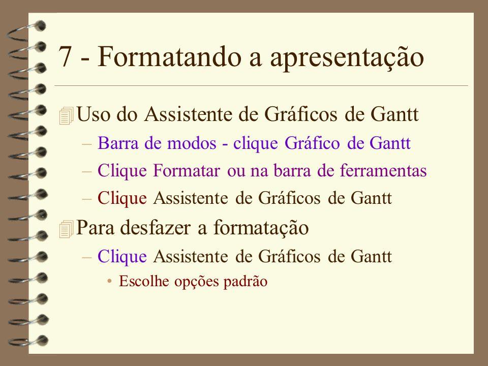 7 - Formatando a apresentação 4 Uso do Assistente de Gráficos de Gantt –Barra de modos - clique Gráfico de Gantt –Clique Formatar ou na barra de ferra