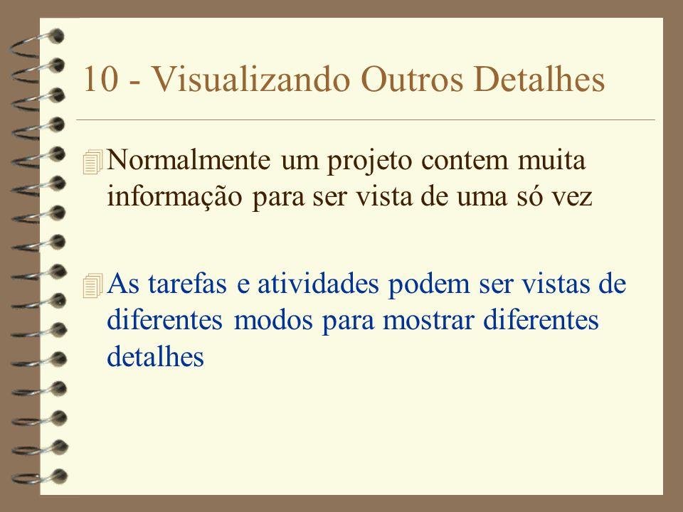 10 - Visualizando Outros Detalhes 4 Normalmente um projeto contem muita informação para ser vista de uma só vez 4 As tarefas e atividades podem ser vi