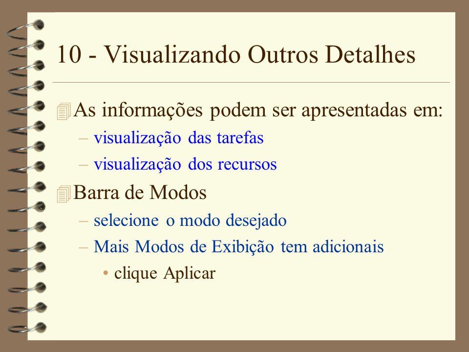 10 - Visualizando Outros Detalhes 4 As informações podem ser apresentadas em: –visualização das tarefas –visualização dos recursos 4 Barra de Modos –s