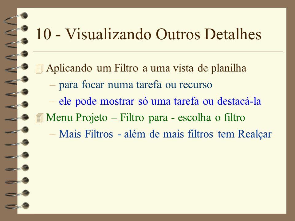 10 - Visualizando Outros Detalhes 4 Aplicando um Filtro a uma vista de planilha –para focar numa tarefa ou recurso –ele pode mostrar só uma tarefa ou