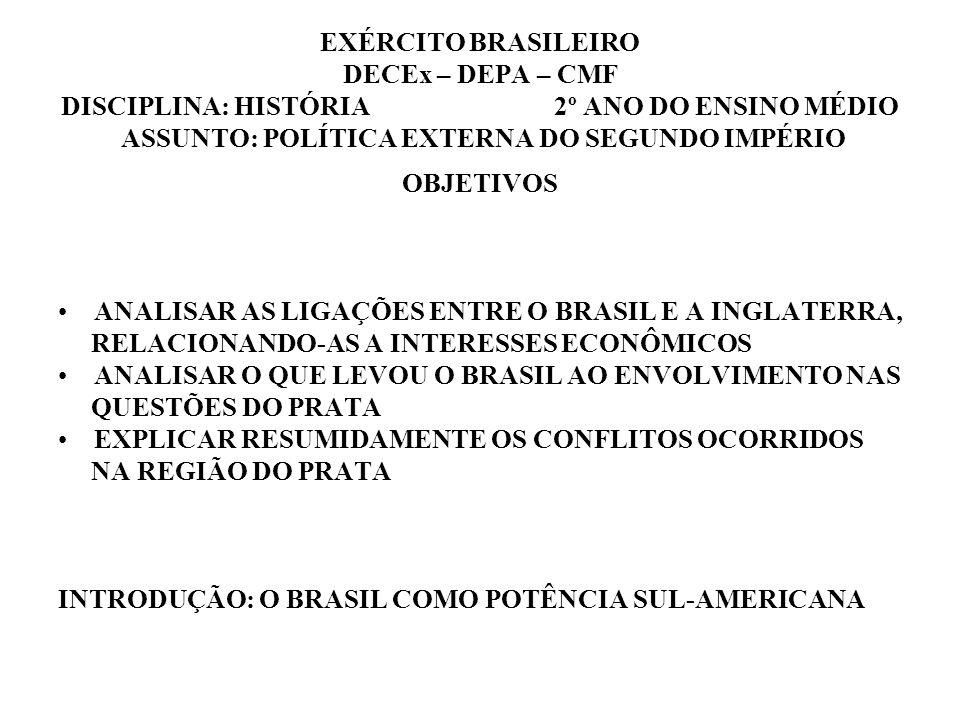 EXÉRCITO BRASILEIRO DECEx – DEPA – CMF DISCIPLINA: HISTÓRIA 2º ANO DO ENSINO MÉDIO ASSUNTO: POLÍTICA EXTERNA DO SEGUNDO IMPÉRIO OBJETIVOS ANALISAR AS
