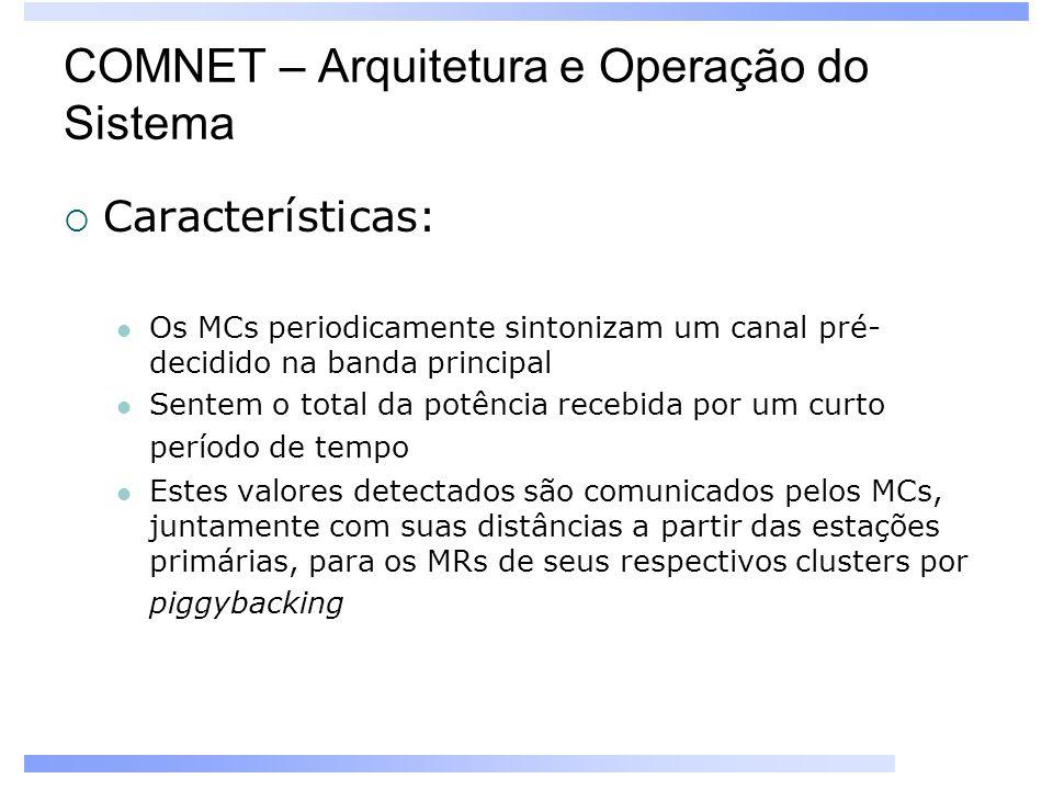 COMNET – Arquitetura e Operação do Sistema Características: Os MCs periodicamente sintonizam um canal pré- decidido na banda principal Sentem o total