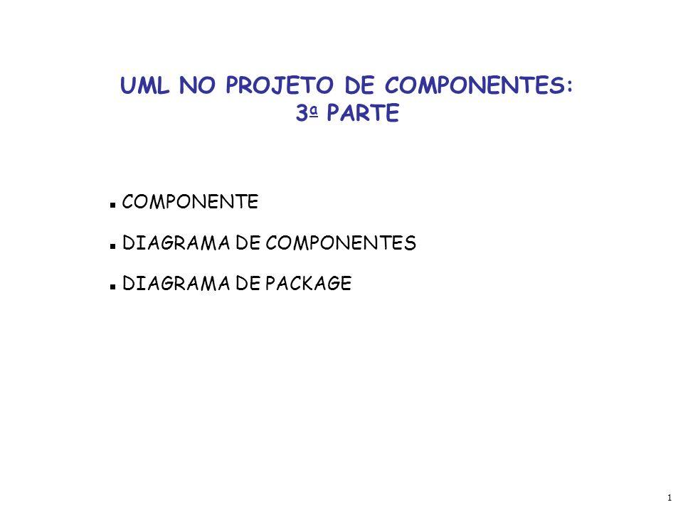 1 UML NO PROJETO DE COMPONENTES: 3 a PARTE COMPONENTE DIAGRAMA DE COMPONENTES DIAGRAMA DE PACKAGE