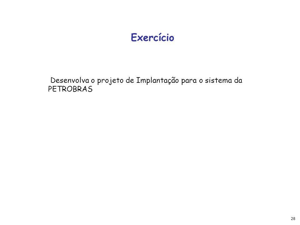 28 Exercício Desenvolva o projeto de Implantação para o sistema da PETROBRAS