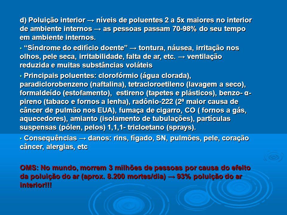 d) Poluição interior níveis de poluentes 2 a 5x maiores no interior de ambiente internos as pessoas passam 70-98% do seu tempo em ambiente internos. S