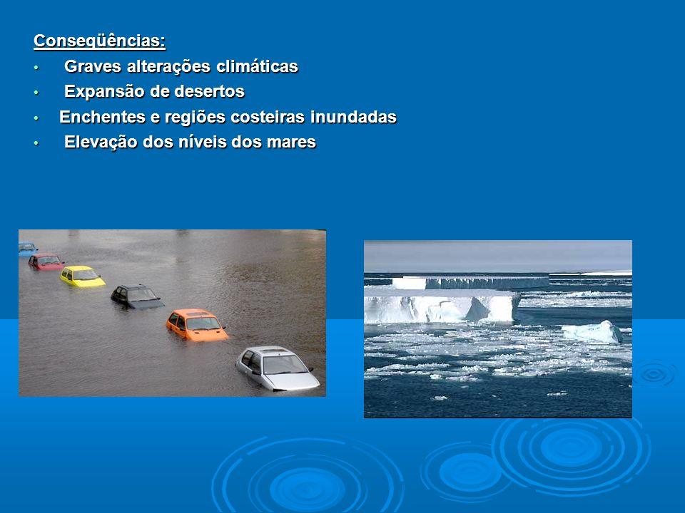 Conseqüências: Graves alterações climáticas Graves alterações climáticas Expansão de desertos Expansão de desertos Enchentes e regiões costeiras inund