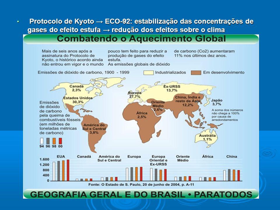 Protocolo de Kyoto ECO-92: estabilização das concentrações de gases do efeito estufa redução dos efeitos sobre o clima Protocolo de Kyoto ECO-92: estabilização das concentrações de gases do efeito estufa redução dos efeitos sobre o clima