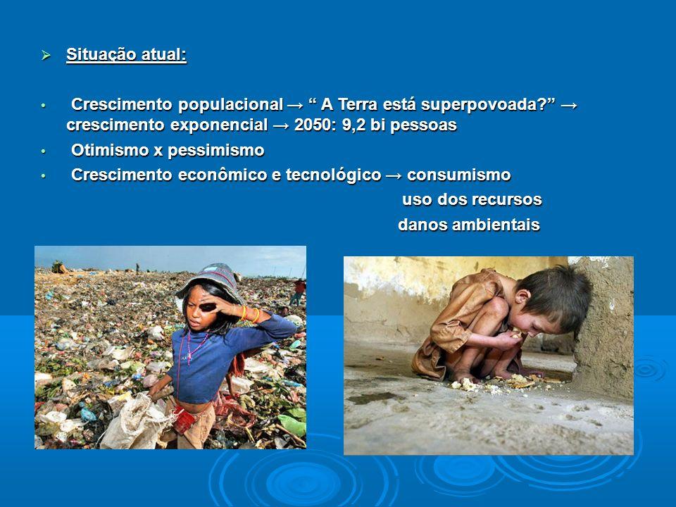 Situação atual: Situação atual: Crescimento populacional A Terra está superpovoada? crescimento exponencial 2050: 9,2 bi pessoas Crescimento populacio