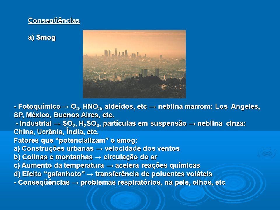 Conseqüências a) Smog - Fotoquímico O, HNO, aldeídos, etc neblina marrom: Los Angeles, SP, México, Buenos Aires, etc. - Fotoquímico O 3, HNO 3, aldeíd