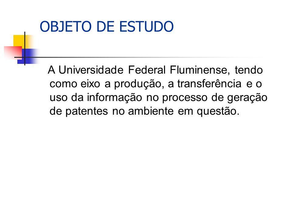 OBJETO DE ESTUDO A Universidade Federal Fluminense, tendo como eixo a produção, a transferência e o uso da informação no processo de geração de patentes no ambiente em questão.