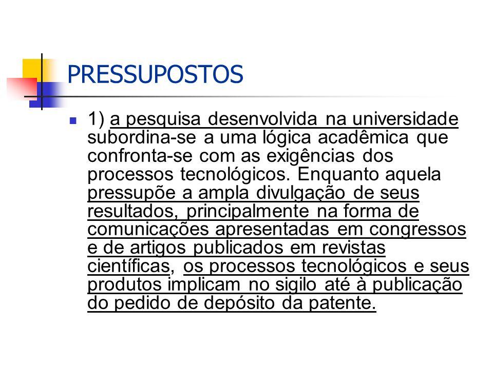 PRESSUPOSTOS 1) a pesquisa desenvolvida na universidade subordina-se a uma lógica acadêmica que confronta-se com as exigências dos processos tecnológicos.