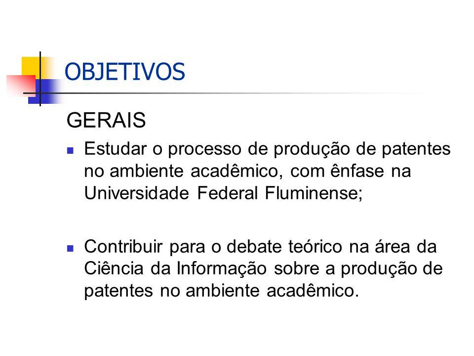 OBJETIVOS GERAIS Estudar o processo de produção de patentes no ambiente acadêmico, com ênfase na Universidade Federal Fluminense; Contribuir para o debate teórico na área da Ciência da Informação sobre a produção de patentes no ambiente acadêmico.