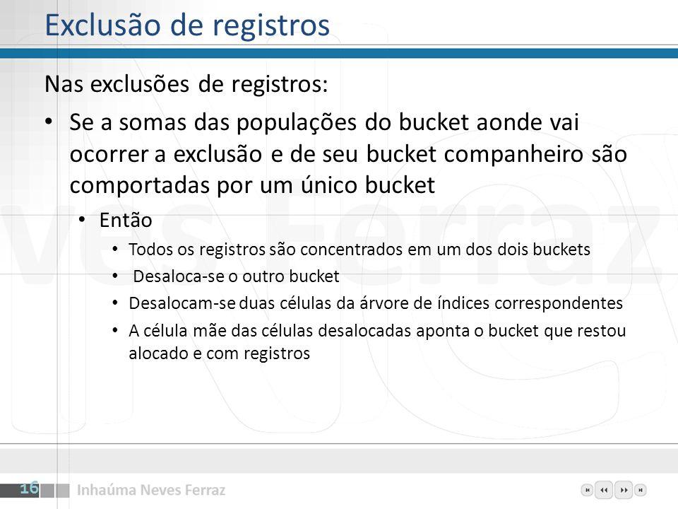 Exclusão de registros Nas exclusões de registros: Se a somas das populações do bucket aonde vai ocorrer a exclusão e de seu bucket companheiro são com