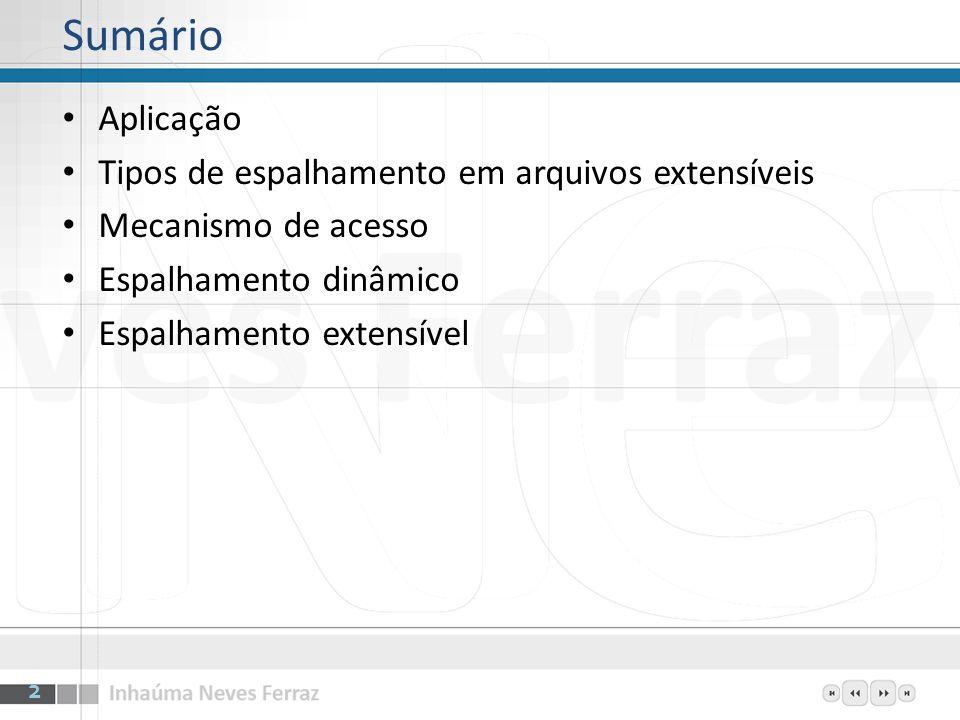 Sumário Aplicação Tipos de espalhamento em arquivos extensíveis Mecanismo de acesso Espalhamento dinâmico Espalhamento extensível 2