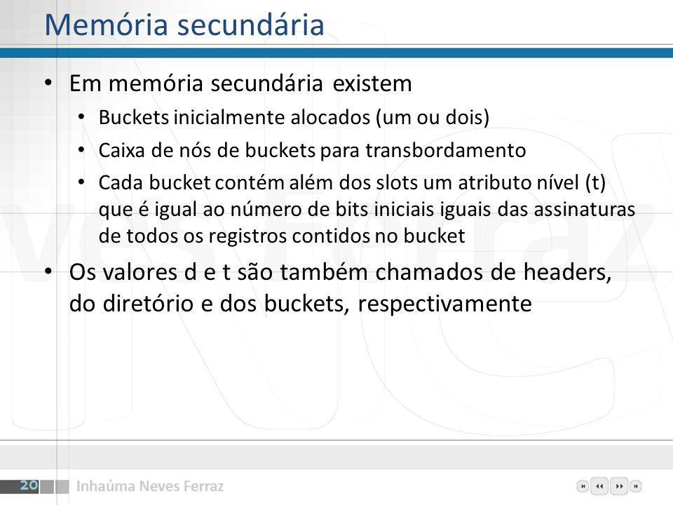 Memória secundária Em memória secundária existem Buckets inicialmente alocados (um ou dois) Caixa de nós de buckets para transbordamento Cada bucket c