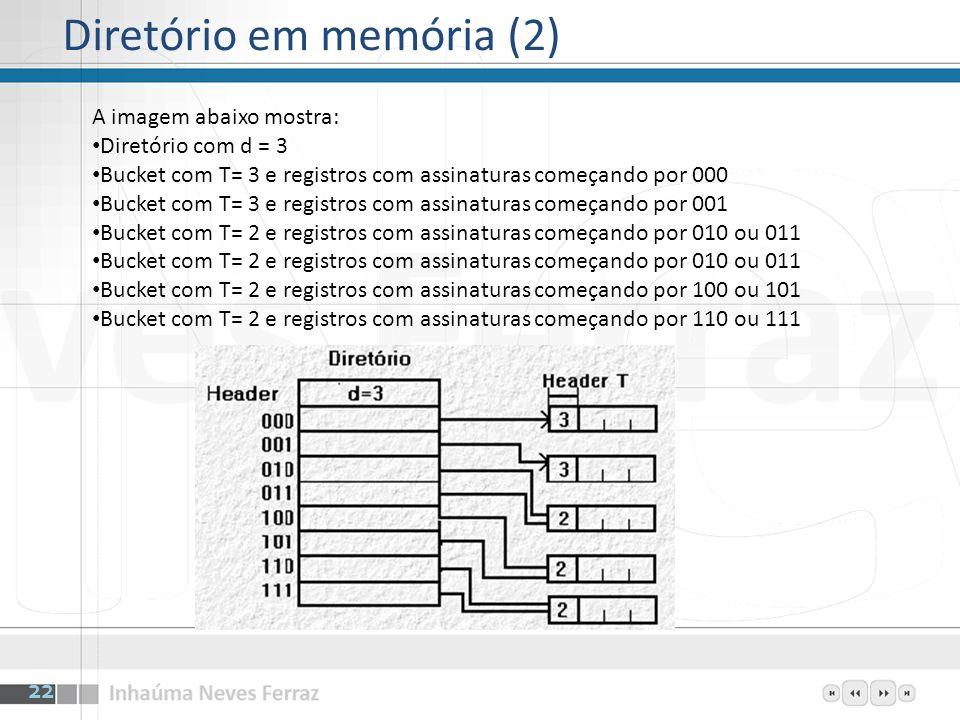 Diretório em memória (2) 22 A imagem abaixo mostra: Diretório com d = 3 Bucket com T= 3 e registros com assinaturas começando por 000 Bucket com T= 3