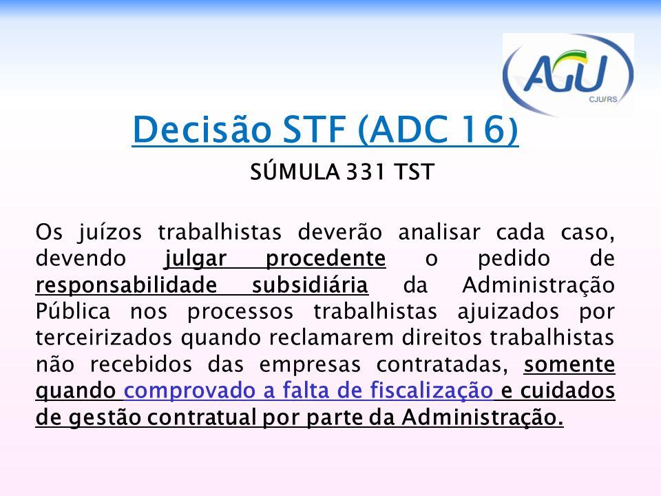 Decisão STF (ADC 16) SÚMULA 331 TST Os juízos trabalhistas deverão analisar cada caso, devendo julgar procedente o pedido de responsabilidade subsidiá