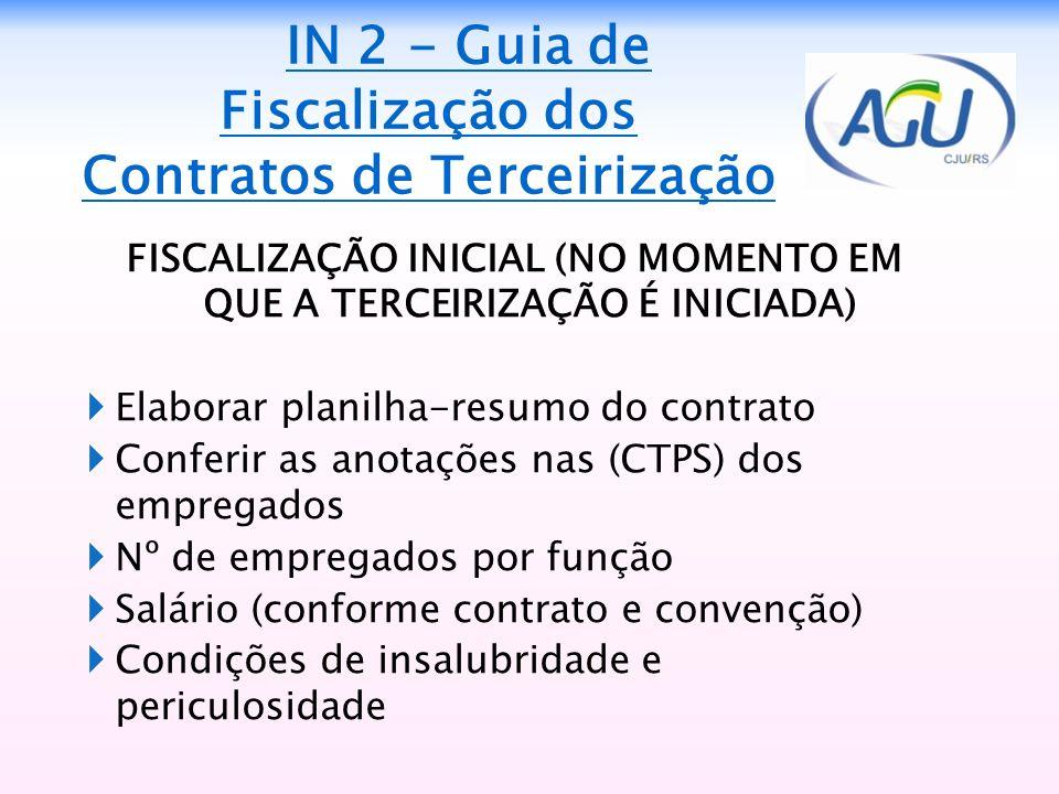 IN 2 - Guia de Fiscalização dos Contratos de Terceirização FISCALIZAÇÃO INICIAL (NO MOMENTO EM QUE A TERCEIRIZAÇÃO É INICIADA) Elaborar planilha-resum