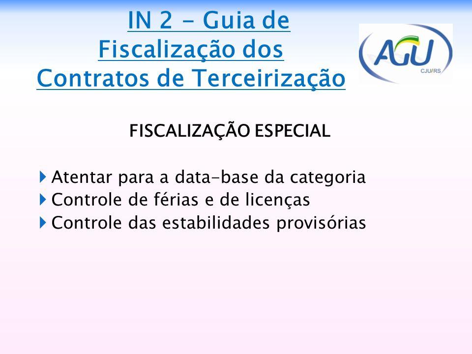 FISCALIZAÇÃO ESPECIAL Atentar para a data-base da categoria Controle de férias e de licenças Controle das estabilidades provisórias IN 2 - Guia de Fis