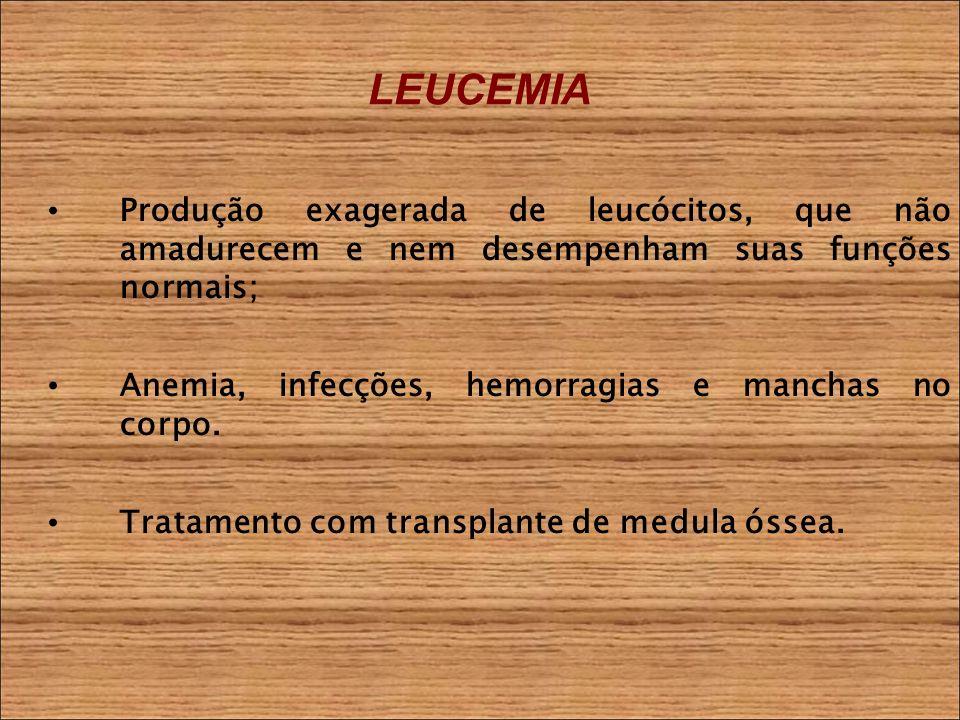 LEUCEMIA Produção exagerada de leucócitos, que não amadurecem e nem desempenham suas funções normais; Anemia, infecções, hemorragias e manchas no corpo.
